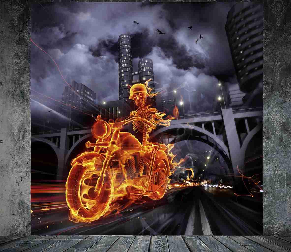 poster fototapete selbstklebend burn brennendes skelett motorrad ebay. Black Bedroom Furniture Sets. Home Design Ideas