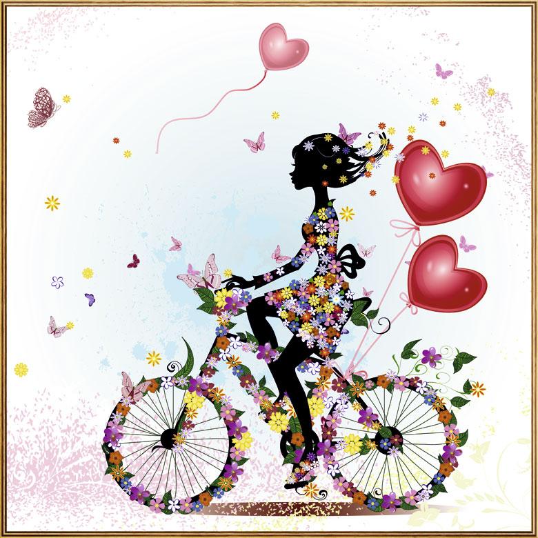 bild holzbild druck auf holz love blumen herz m dchen fahrrad ebay. Black Bedroom Furniture Sets. Home Design Ideas