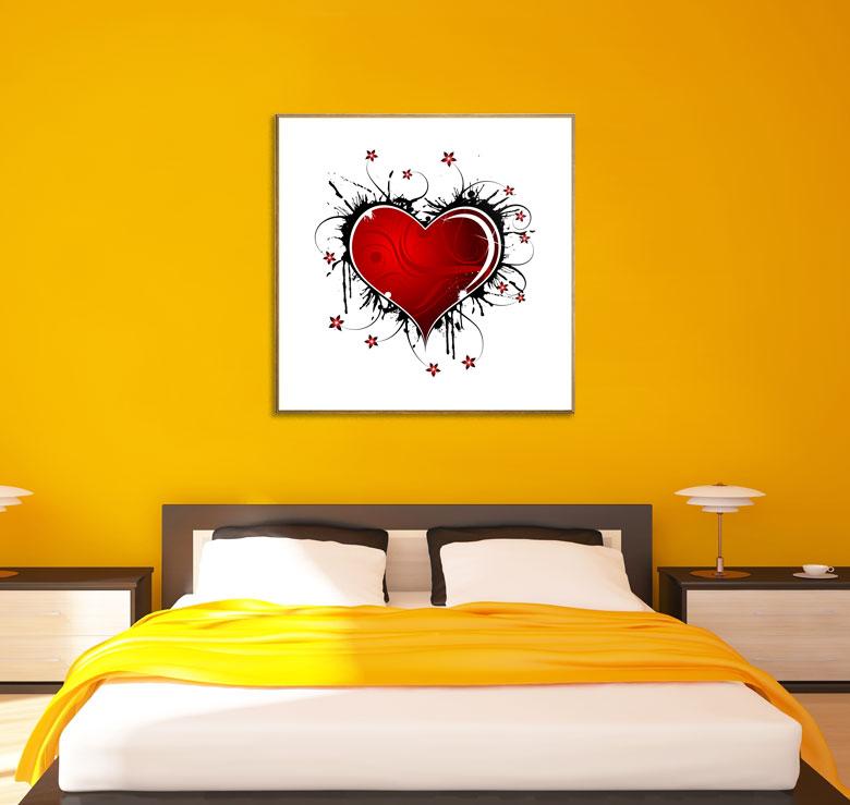 bild holzbild druck auf holz love strahlendes herz mit blumen ebay. Black Bedroom Furniture Sets. Home Design Ideas