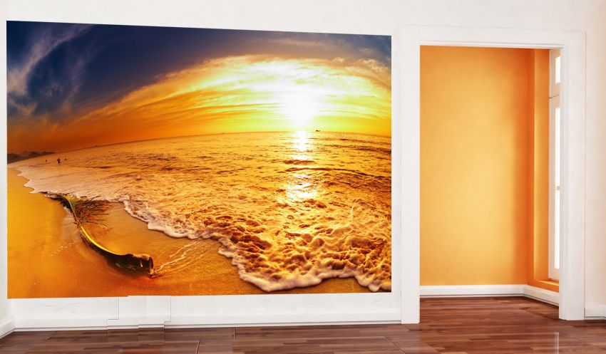 poster fototapete selbstklebend natur sonnenaufgang am strand. Black Bedroom Furniture Sets. Home Design Ideas