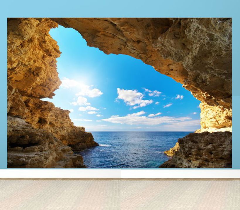 poster fototapete selbstklebend natur grotte sonnenschein ebay. Black Bedroom Furniture Sets. Home Design Ideas