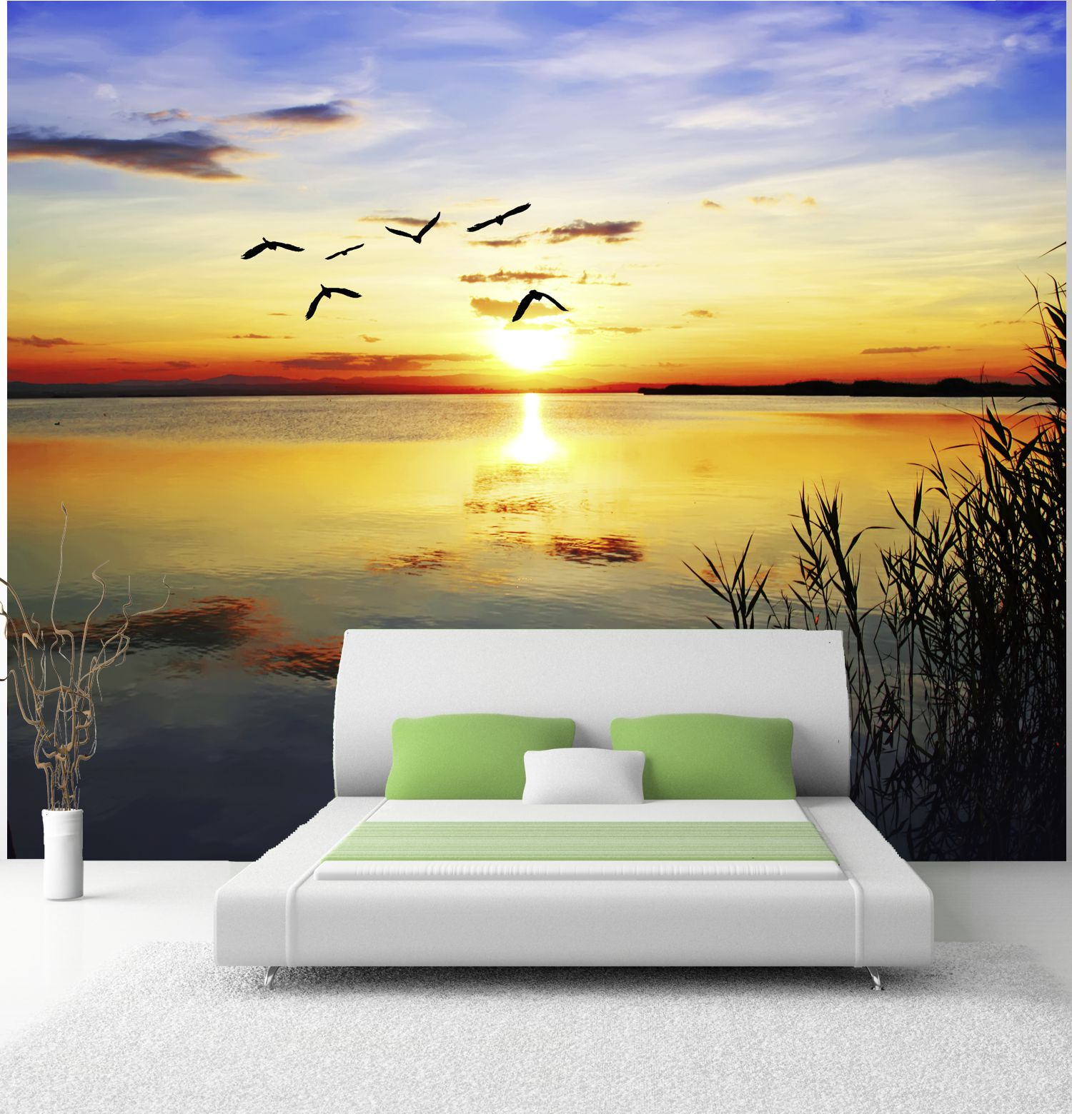 poster fototapete selbstklebend natur sonnenuntergang ebay. Black Bedroom Furniture Sets. Home Design Ideas