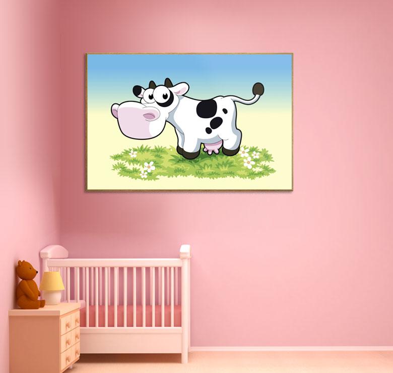 bild holzbild druck auf holz tiere kuh comic ebay. Black Bedroom Furniture Sets. Home Design Ideas