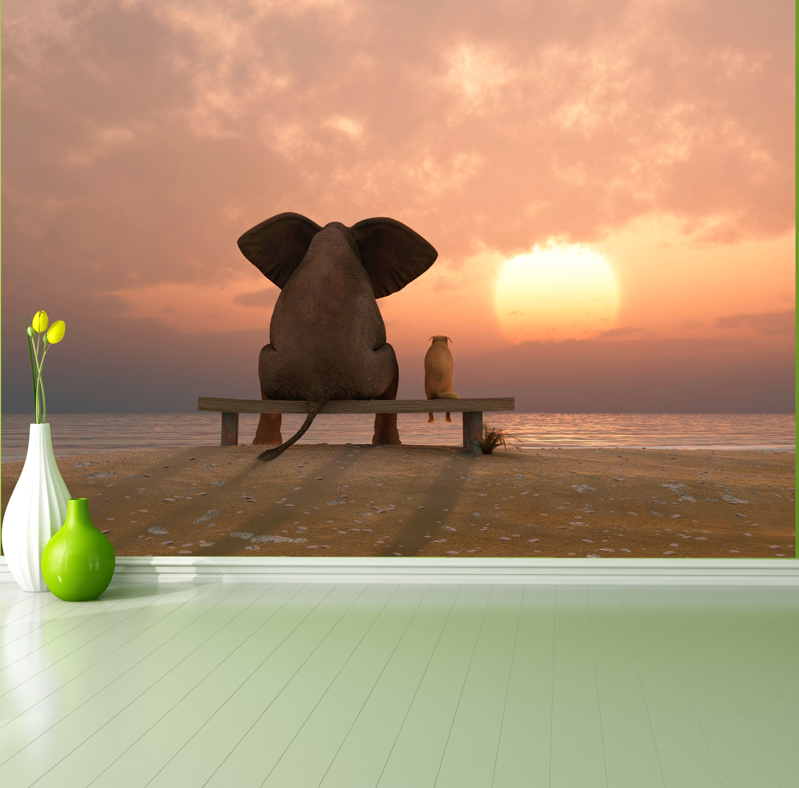 poster fototapete selbstklebend tiere elefant hund freundschaft ebay. Black Bedroom Furniture Sets. Home Design Ideas