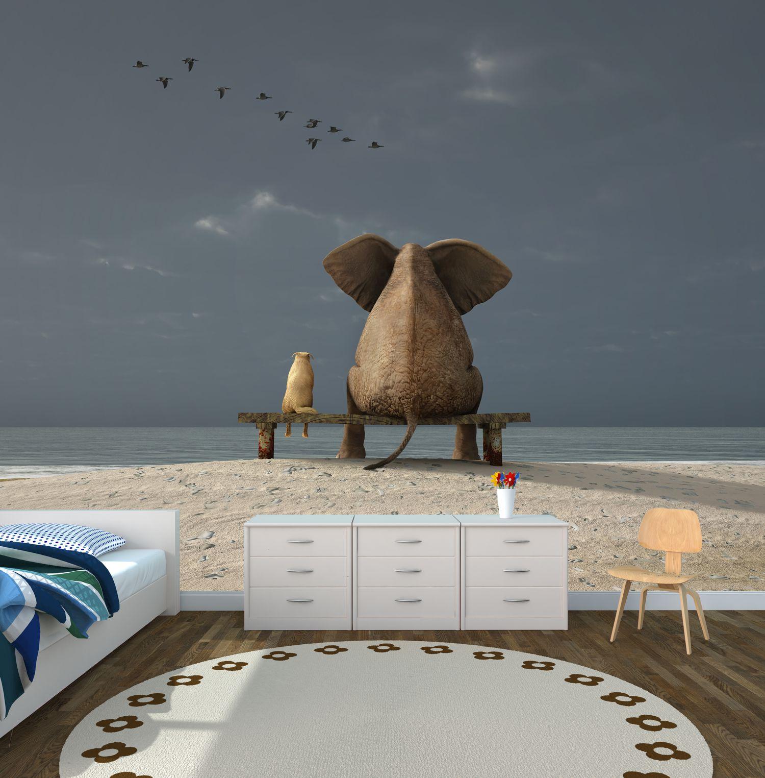 poster fototapete selbstklebend tiere elefant hund freundschaft meer ebay. Black Bedroom Furniture Sets. Home Design Ideas