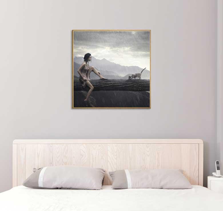 bild holzbild druck auf holz tiere katze frau regen 40 x 40 cm ebay. Black Bedroom Furniture Sets. Home Design Ideas