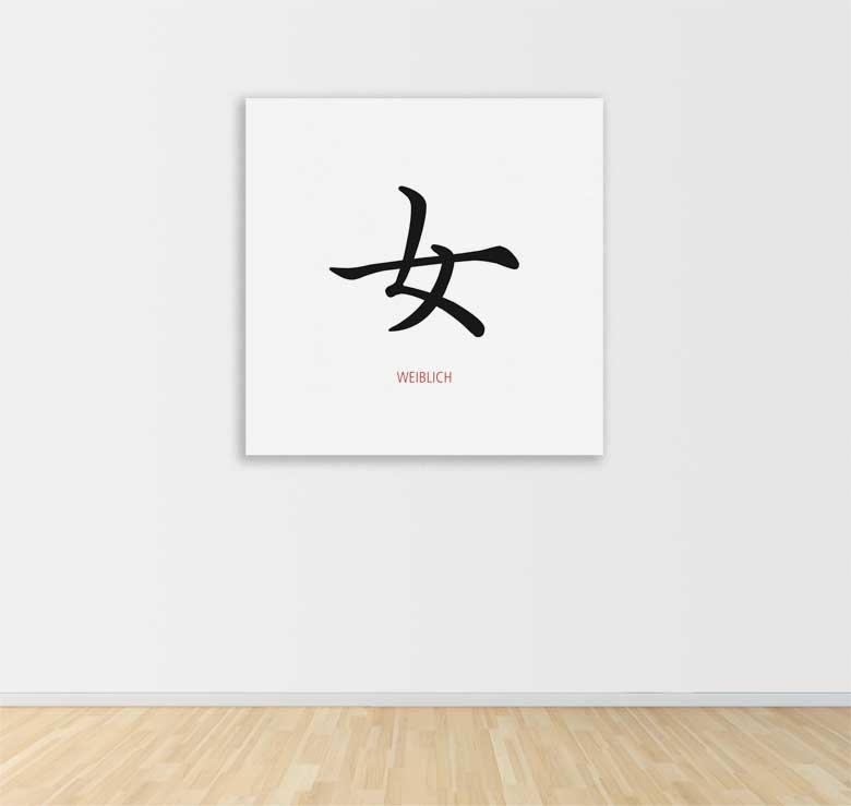 poster fototapete selbstklebend chinesische zeichen weiblich 60 x 60 cm ebay. Black Bedroom Furniture Sets. Home Design Ideas