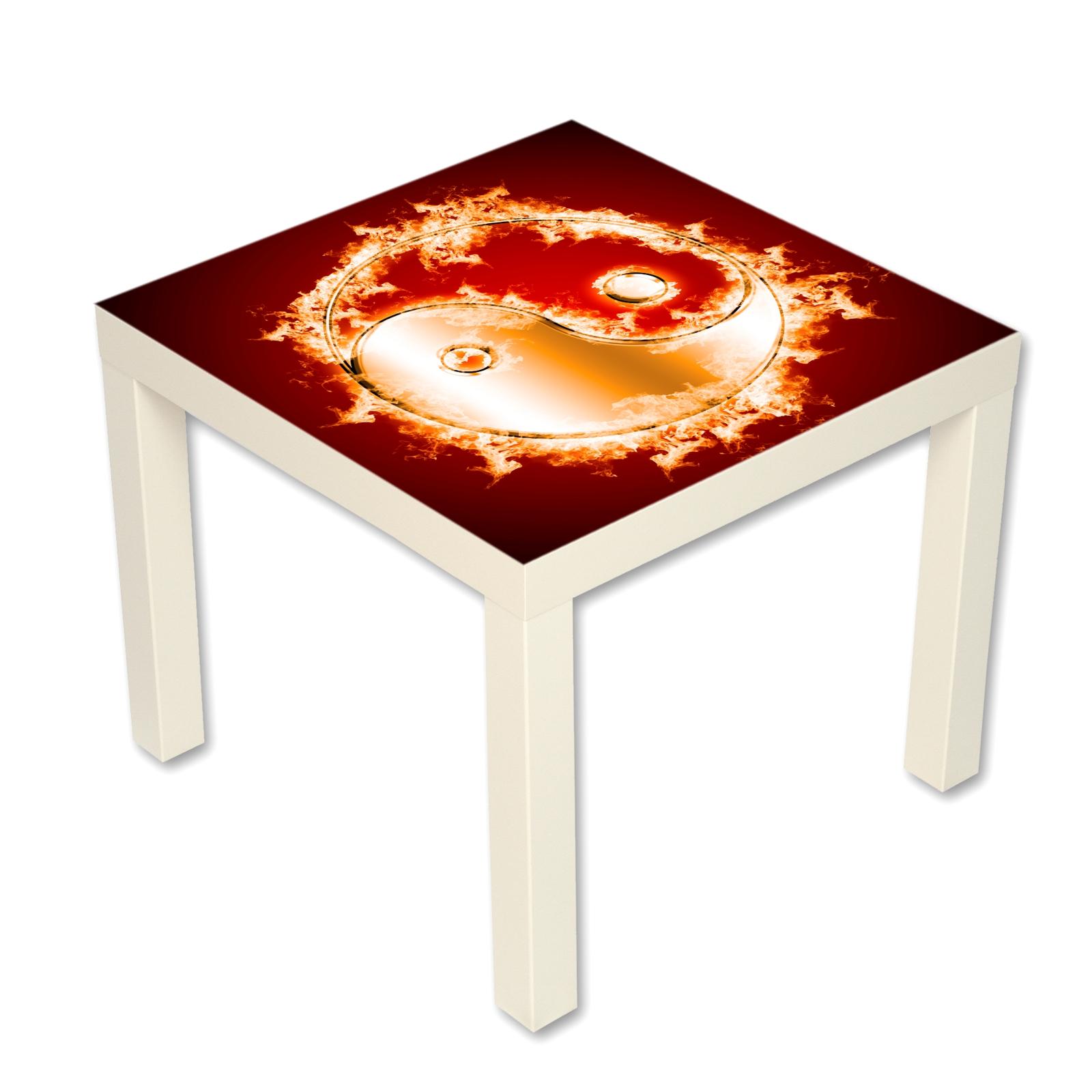 couchtisch beistelltisch motiv yin und yang in flammen ebay